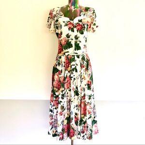 🍒VINTAGE 80s Garden Floral Midi Dress